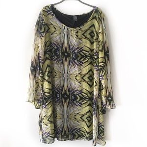 Tops - Long Printed Flared Sleeve Tunic